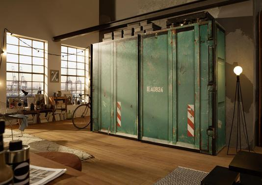 armoire style industriel fa on container le blog d co. Black Bedroom Furniture Sets. Home Design Ideas
