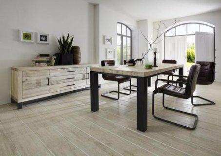 Meubles industriels : Bahut 2 portes 3 tiroirs style atelier chene blanc