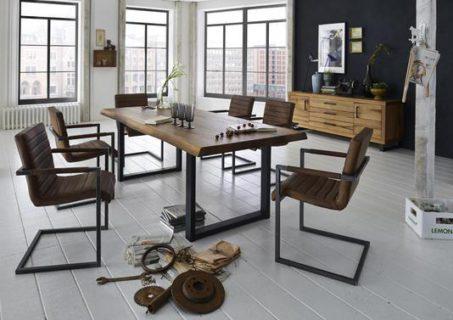 Élégante table style atelier pied métal en U