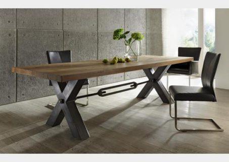 Meubles industriels = table style atelier plateau chêne massif doré pieds métal