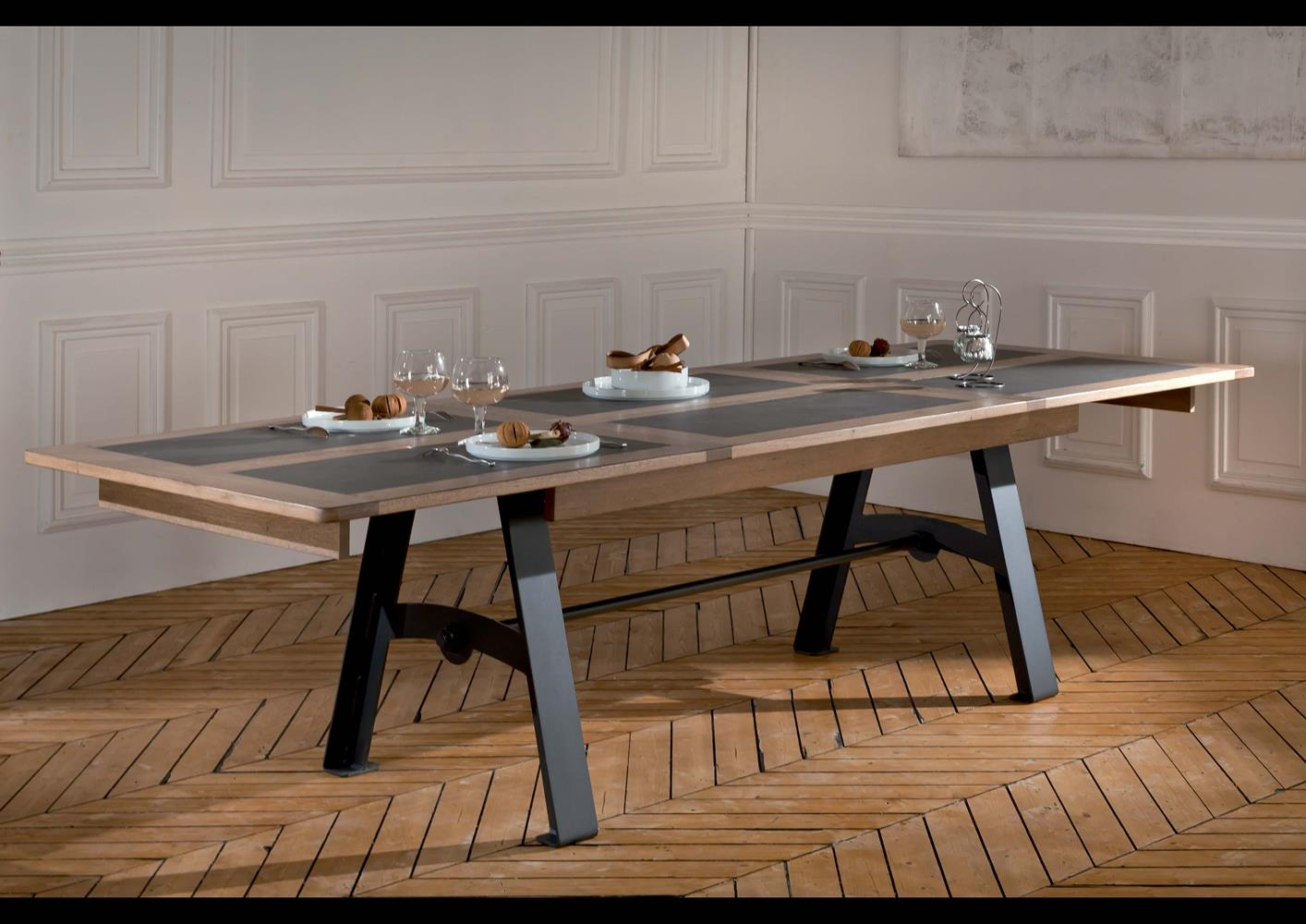acheter votre table pieds m tal plateau ch ne et c ramique. Black Bedroom Furniture Sets. Home Design Ideas