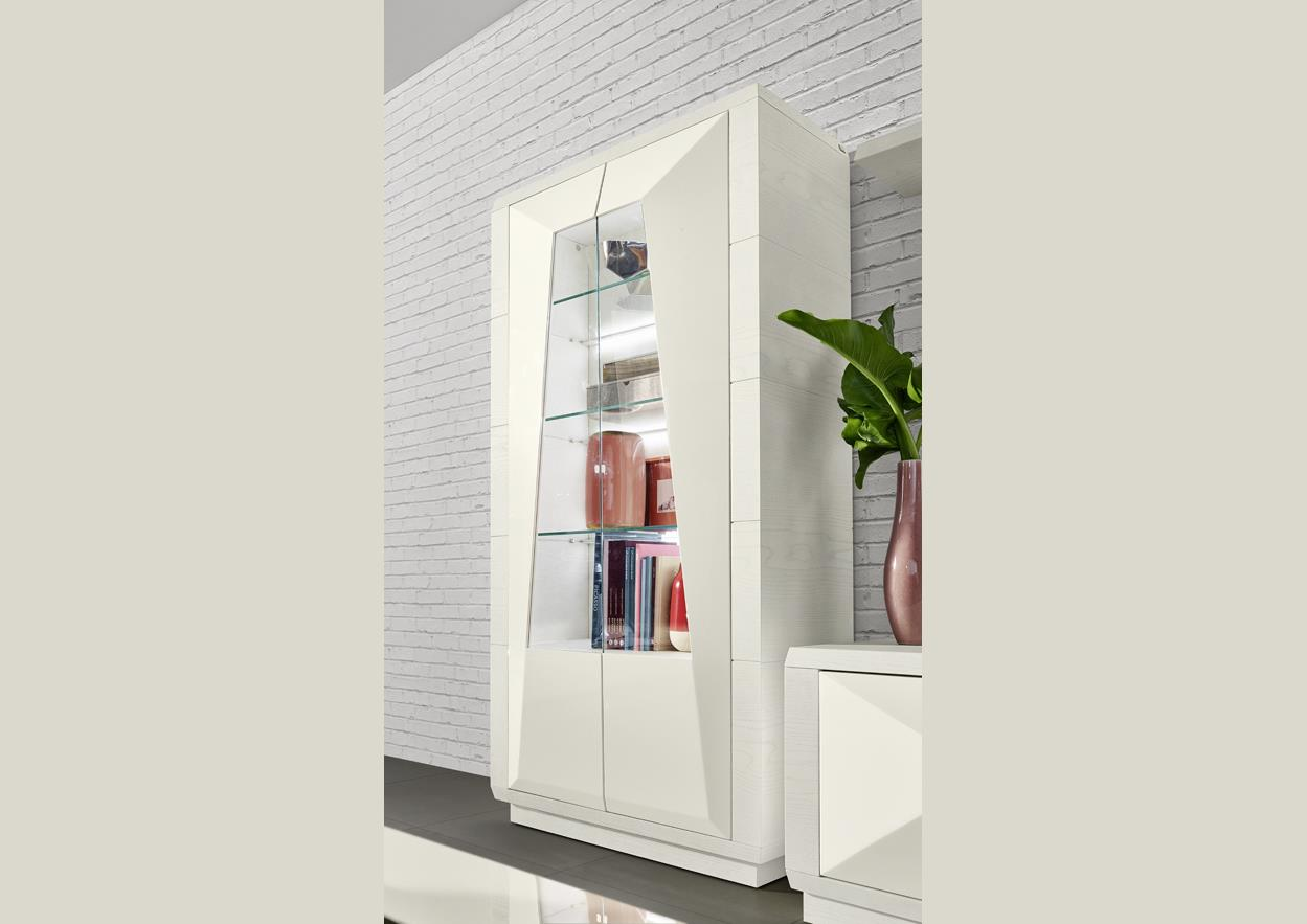 acheter votre vitrine 2 portes laqu es pointes de diamant chez simeuble. Black Bedroom Furniture Sets. Home Design Ideas