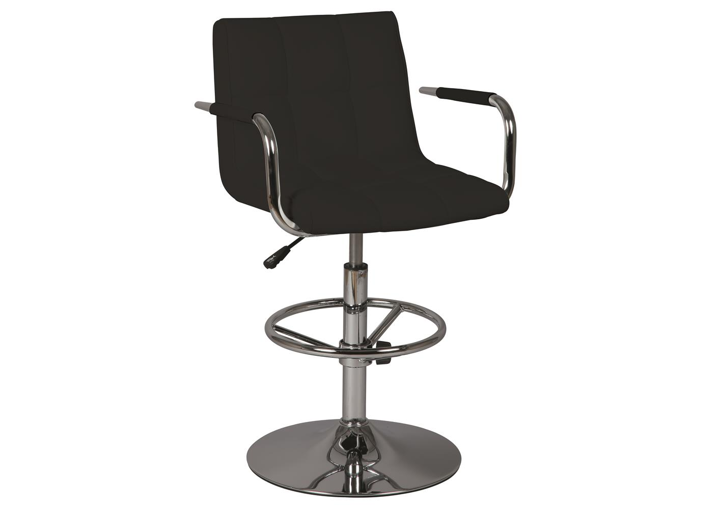 acheter votre tabouret de bar pied chrom assise en pvc noir chez simeuble. Black Bedroom Furniture Sets. Home Design Ideas