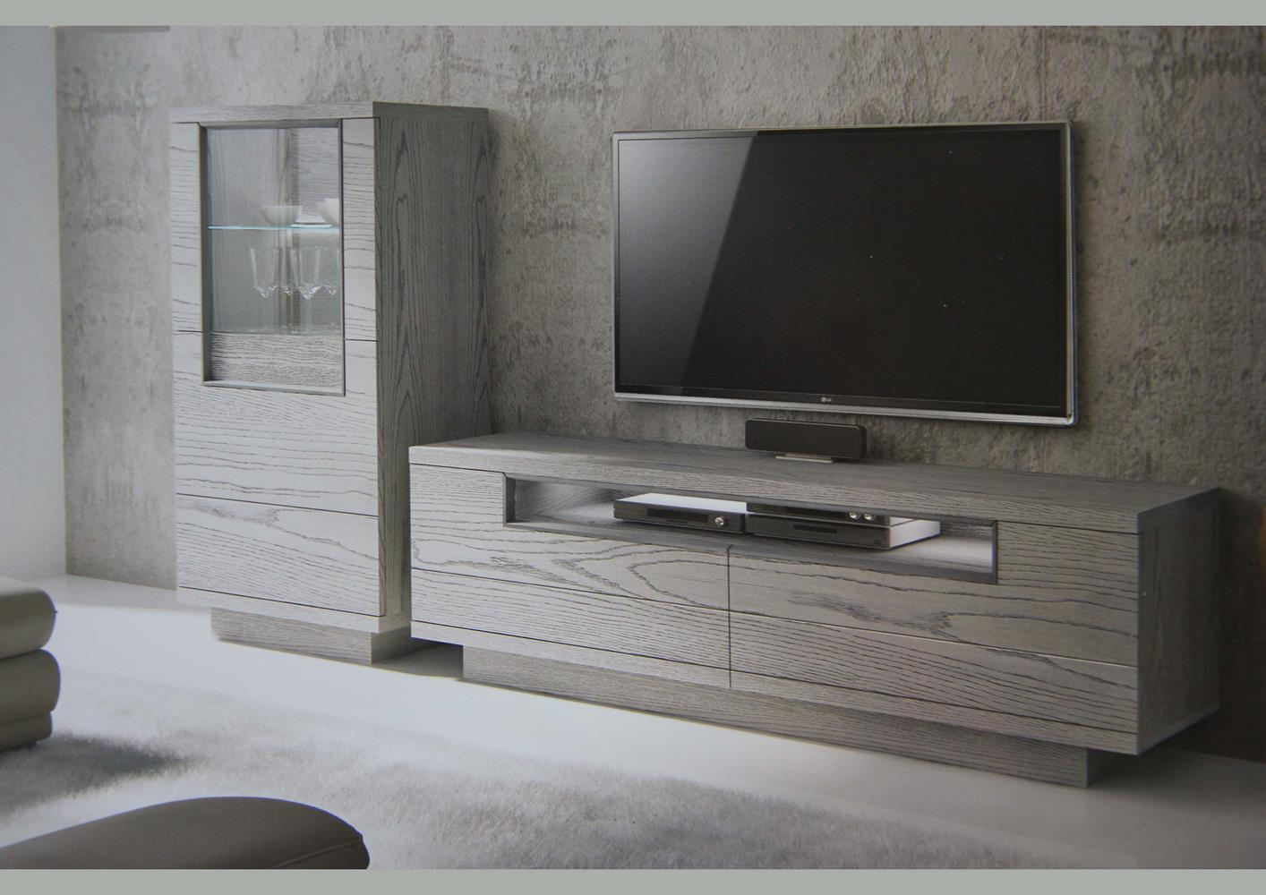 acheter votre meuble tv contemporain bois gris 2 portes 1 niche chez simeuble. Black Bedroom Furniture Sets. Home Design Ideas