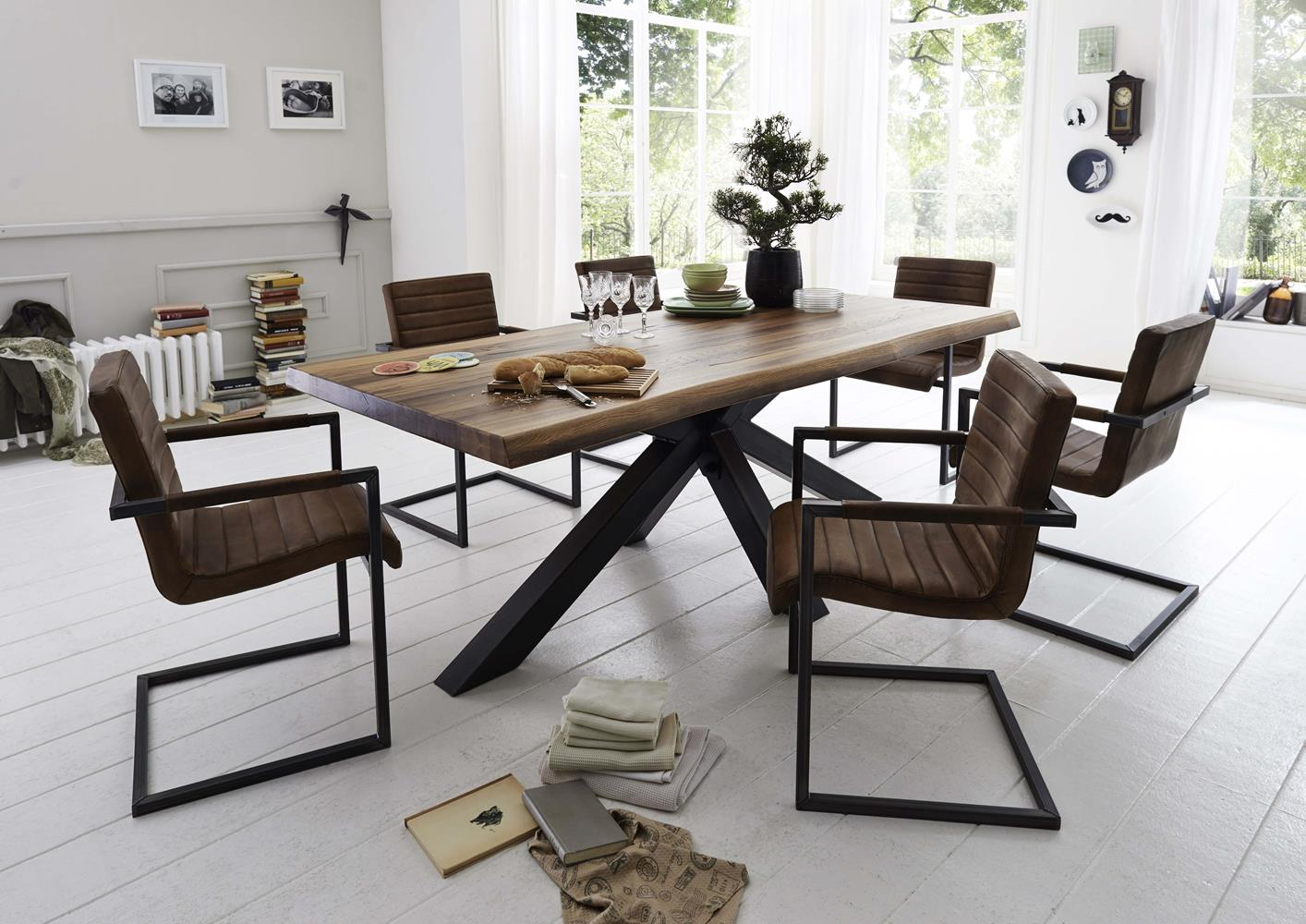 Table Chene Et Metal.Table Plateau Chene Massif Pieds Metal Original