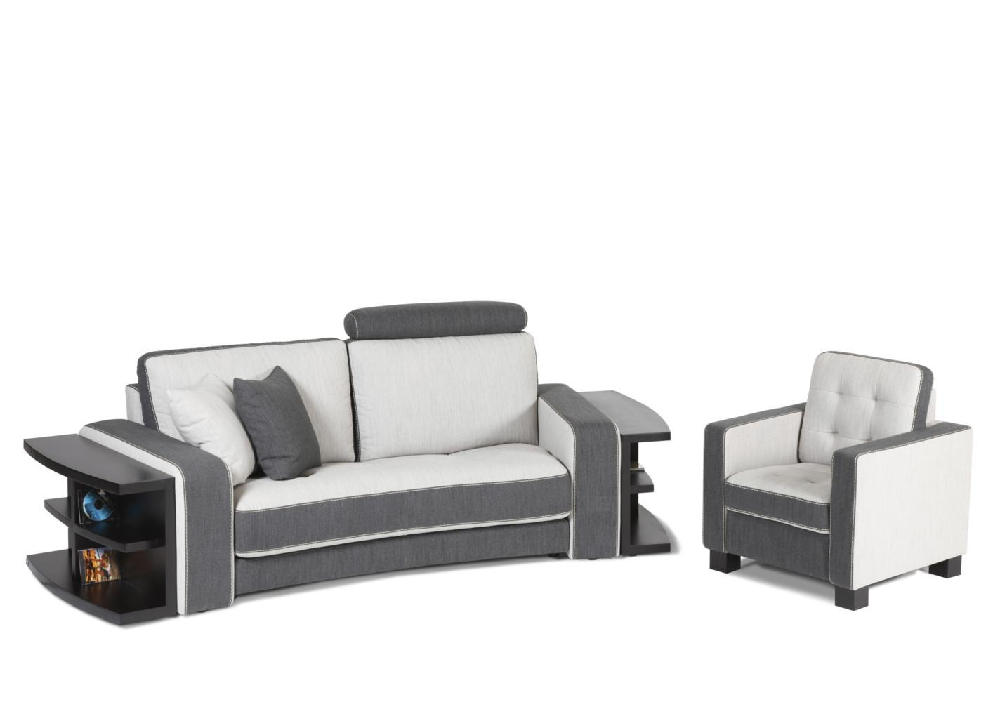 acheter votre canap contemporain bicolore gris et blanc avec t ti res chez simeuble. Black Bedroom Furniture Sets. Home Design Ideas