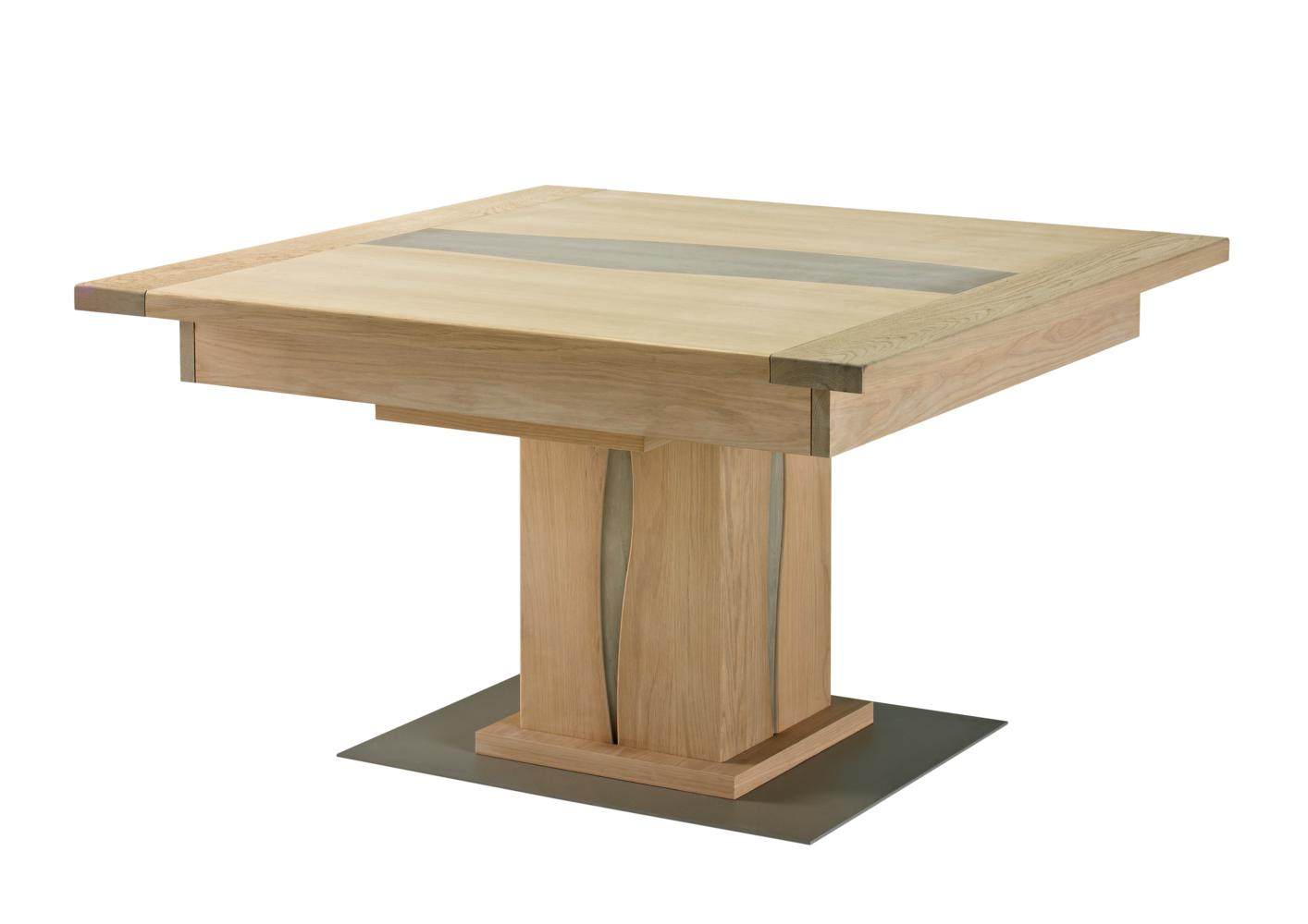 Table avec pied central for Table ronde bois pied central