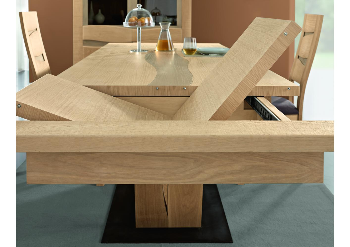 Table contemporaine avec pied central for Table rectangulaire bois avec allonges