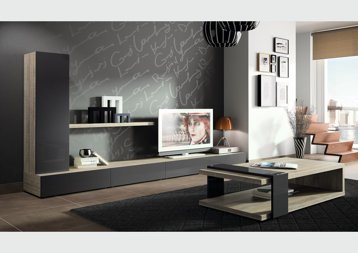 meuble tv composition murale maison design. Black Bedroom Furniture Sets. Home Design Ideas