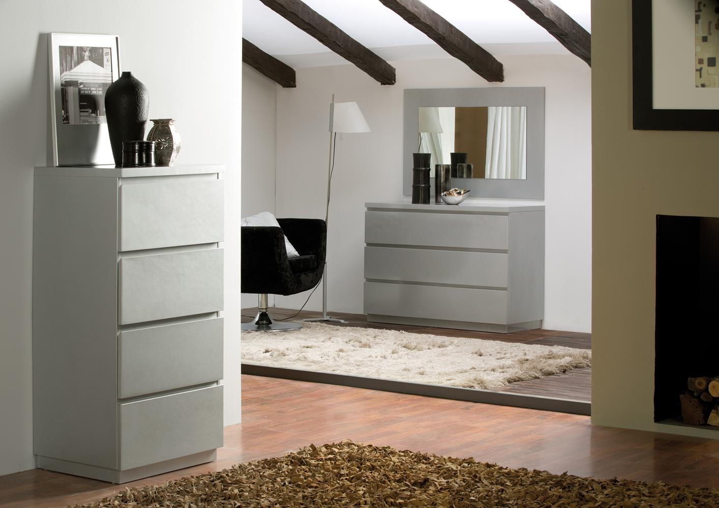 acheter votre meuble contemporain 6 tiroirs laqu blanc chez simeuble. Black Bedroom Furniture Sets. Home Design Ideas
