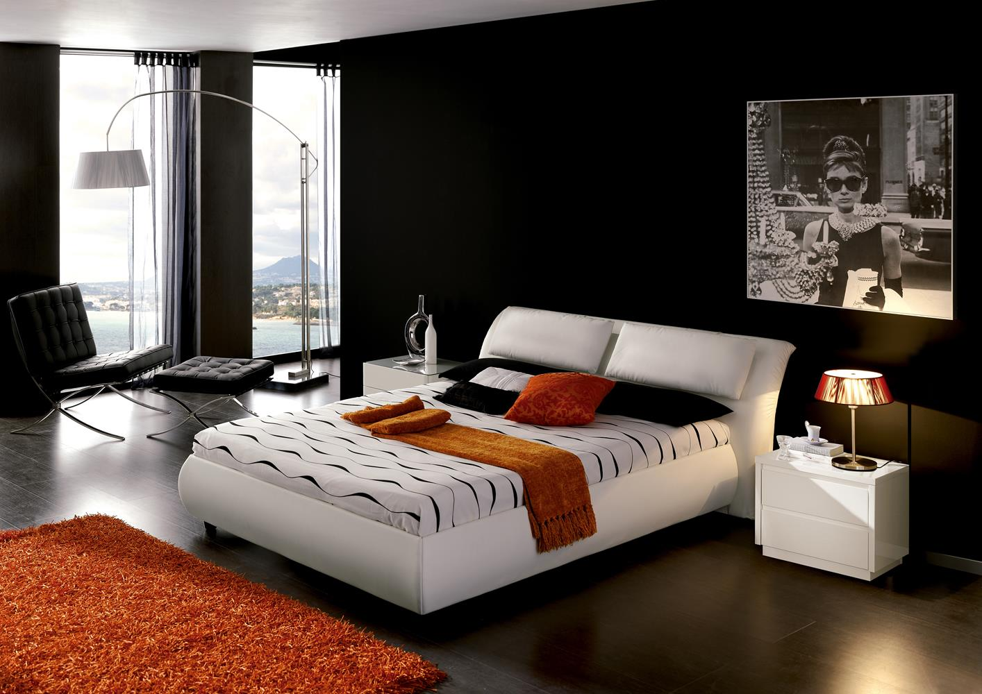 acheter votre lit contemporain en pvc blanc avec coffre chez simeuble. Black Bedroom Furniture Sets. Home Design Ideas