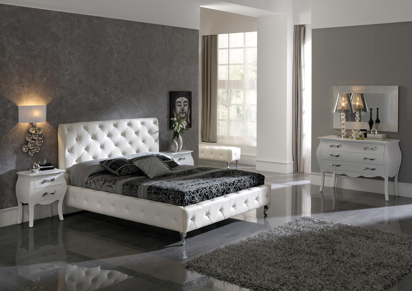 acheter votre lit capitonn contemporain en cuir blanc avec strass chez simeuble. Black Bedroom Furniture Sets. Home Design Ideas