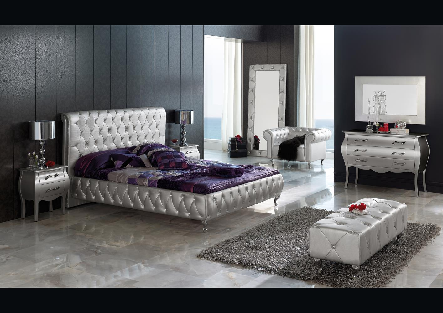 acheter votre lit capitonn contemporain en cuir blanc. Black Bedroom Furniture Sets. Home Design Ideas