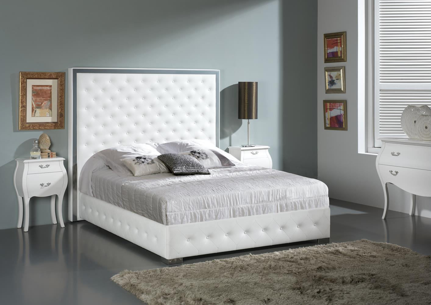 acheter votre t te de lit contemporaine en pvc blanc chez simeuble. Black Bedroom Furniture Sets. Home Design Ideas