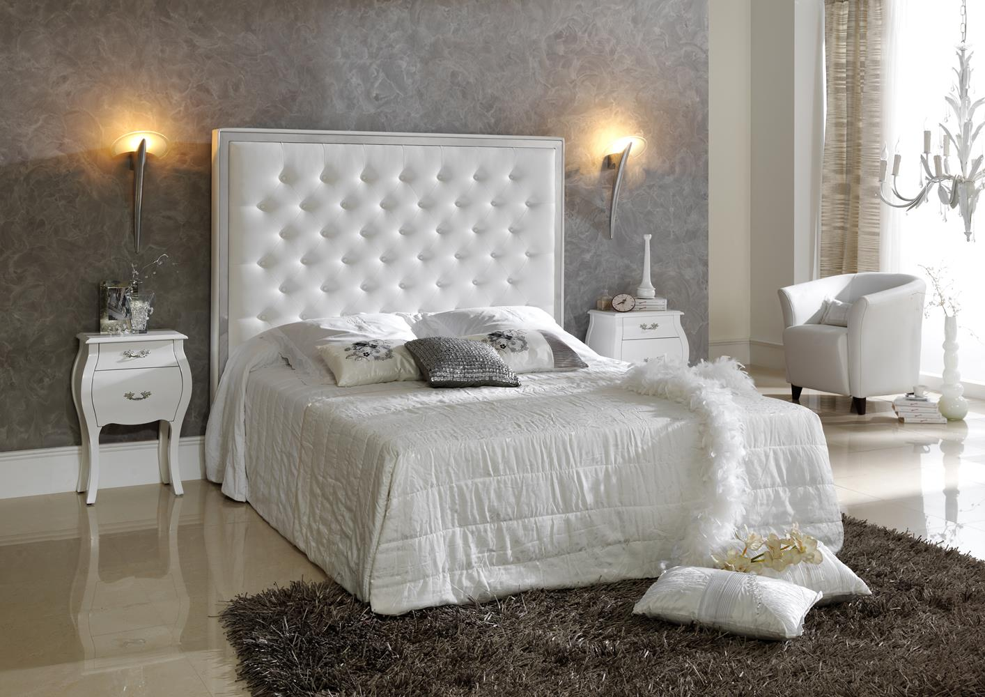 acheter votre lit contemporain capitonn blanc avec coffre chez simeuble. Black Bedroom Furniture Sets. Home Design Ideas