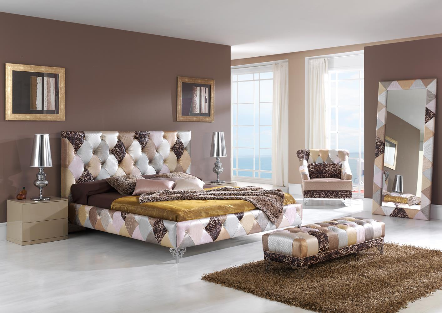 acheter votre lit contemporain patchwork chez simeuble. Black Bedroom Furniture Sets. Home Design Ideas