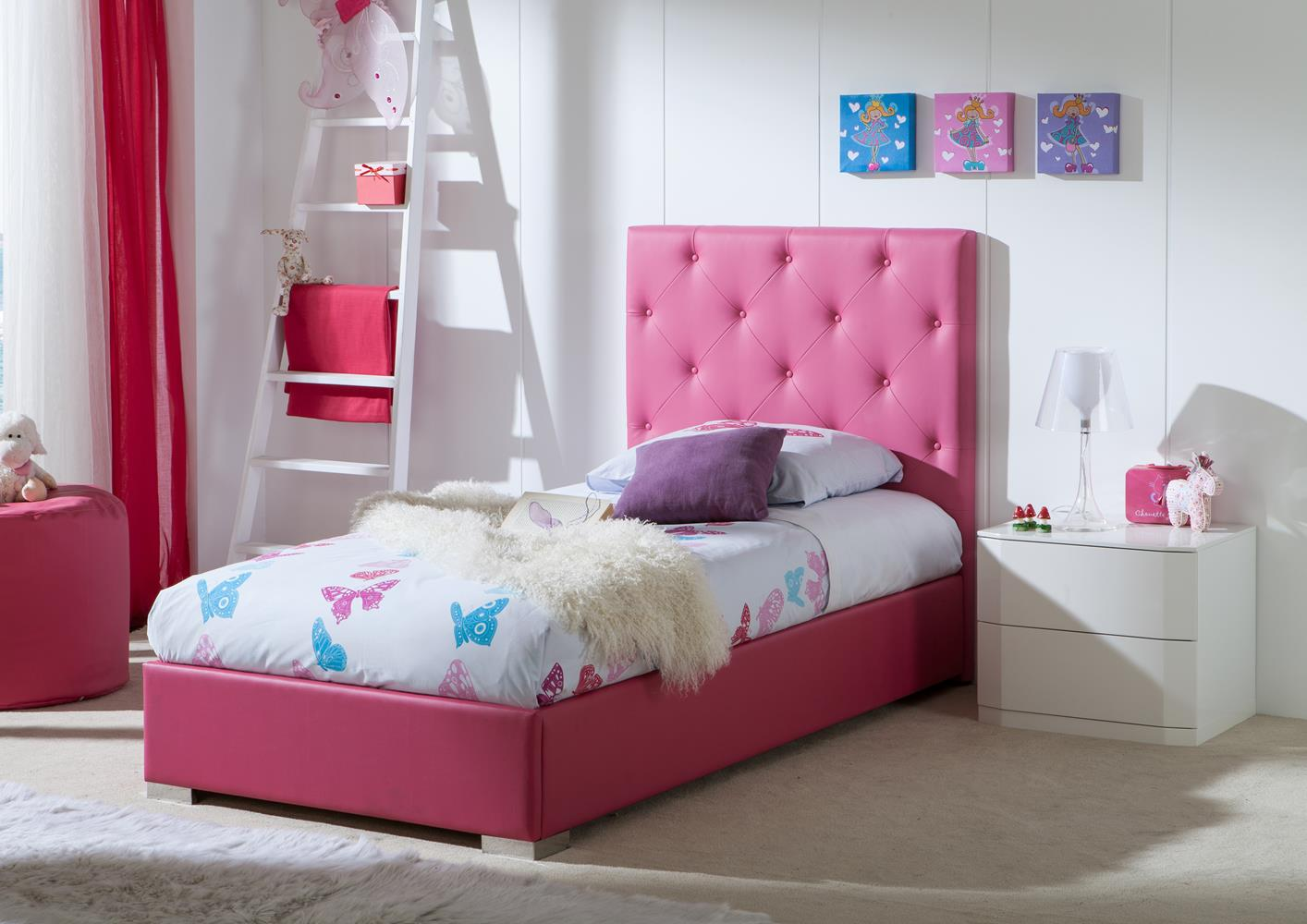 acheter votre lit contemporain fuscia capitonn e avec coffre chez simeuble. Black Bedroom Furniture Sets. Home Design Ideas