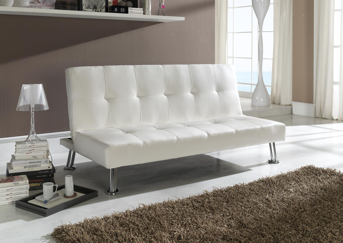 acheter votre banquette clic clac en pvc blanc capiton e chez simeuble. Black Bedroom Furniture Sets. Home Design Ideas
