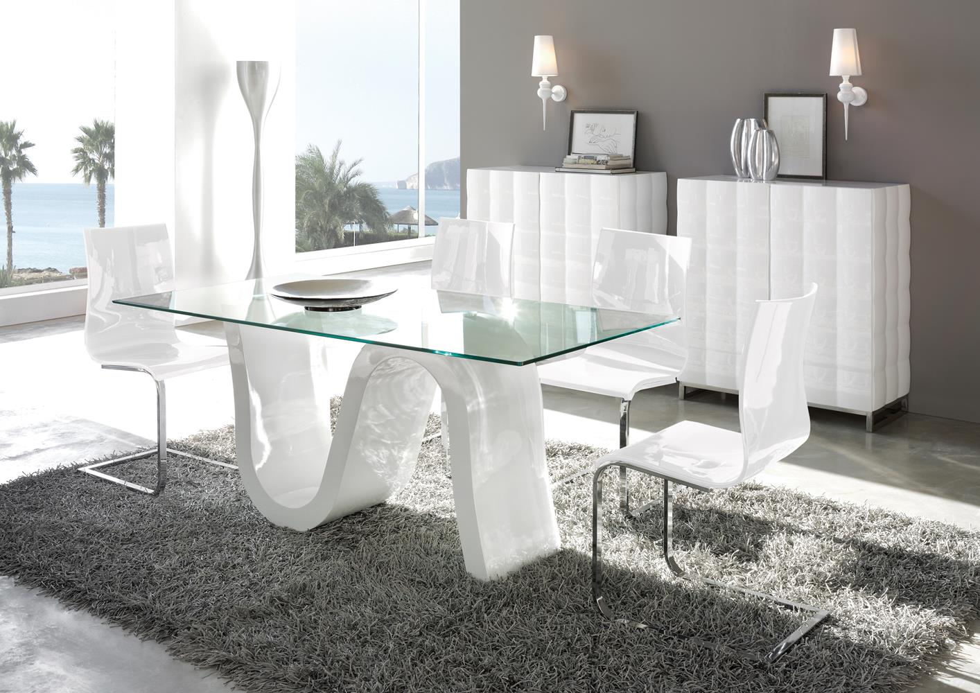 acheter votre table contemporiane plateau verre pied laqu blanc chez simeuble. Black Bedroom Furniture Sets. Home Design Ideas