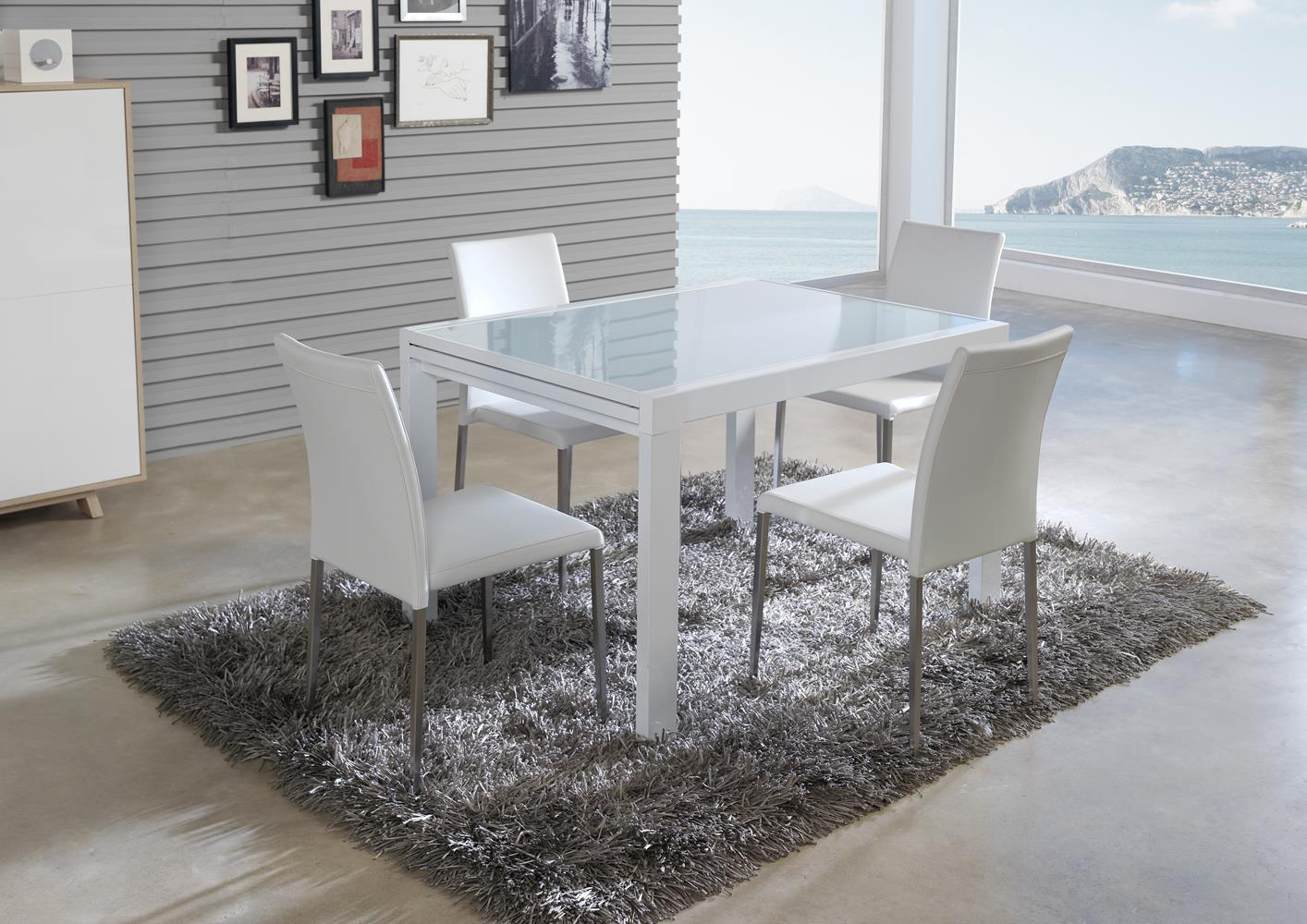acheter votre table en verre avec allonge laqu e blanche chez simeuble. Black Bedroom Furniture Sets. Home Design Ideas