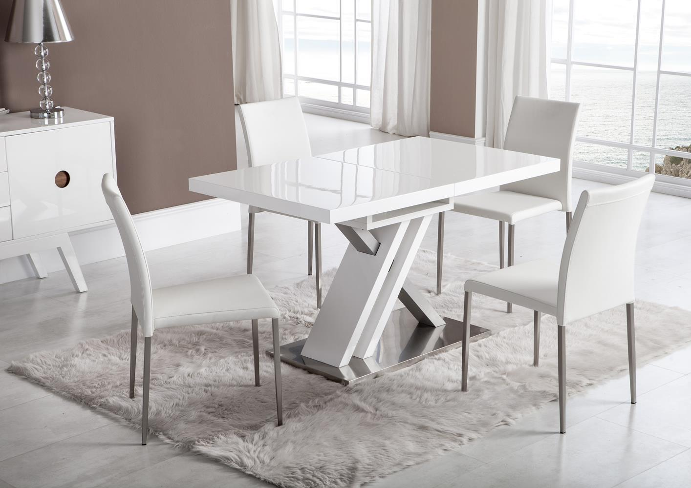 Acheter votre table moderne pied central croix laqu e for Table cuisine contemporaine