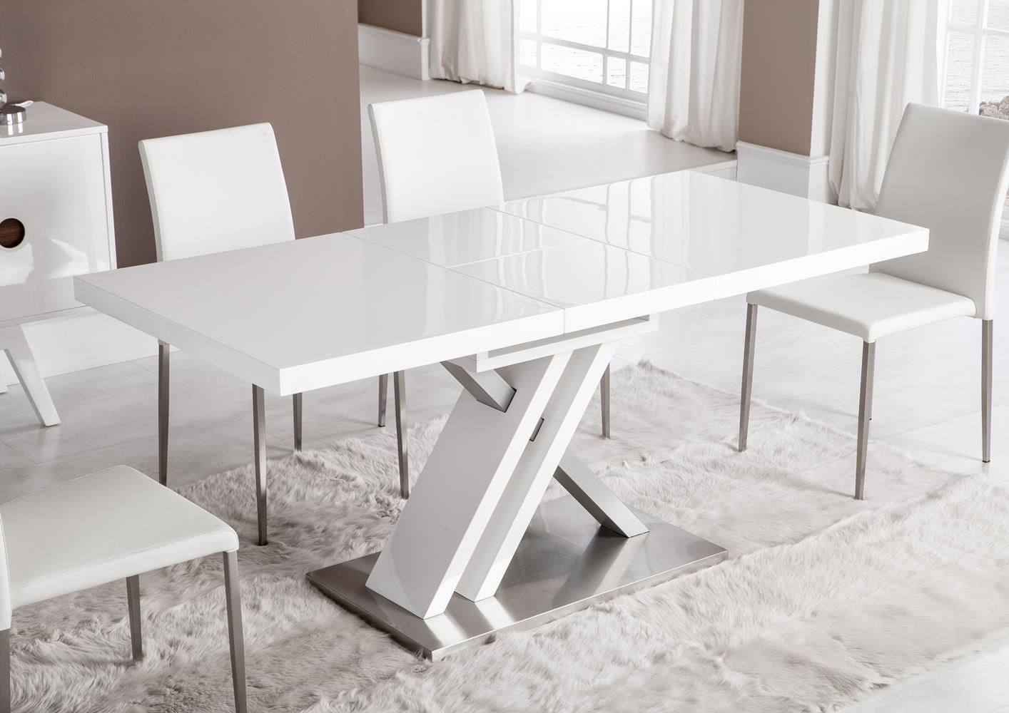 Table laque blanc pied central meuble de salon contemporain for Table pied central