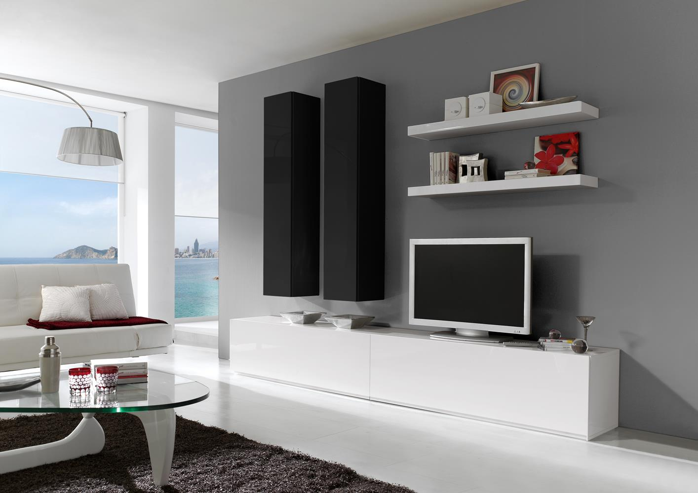 acheter votre composition murale design laqu blanche et. Black Bedroom Furniture Sets. Home Design Ideas
