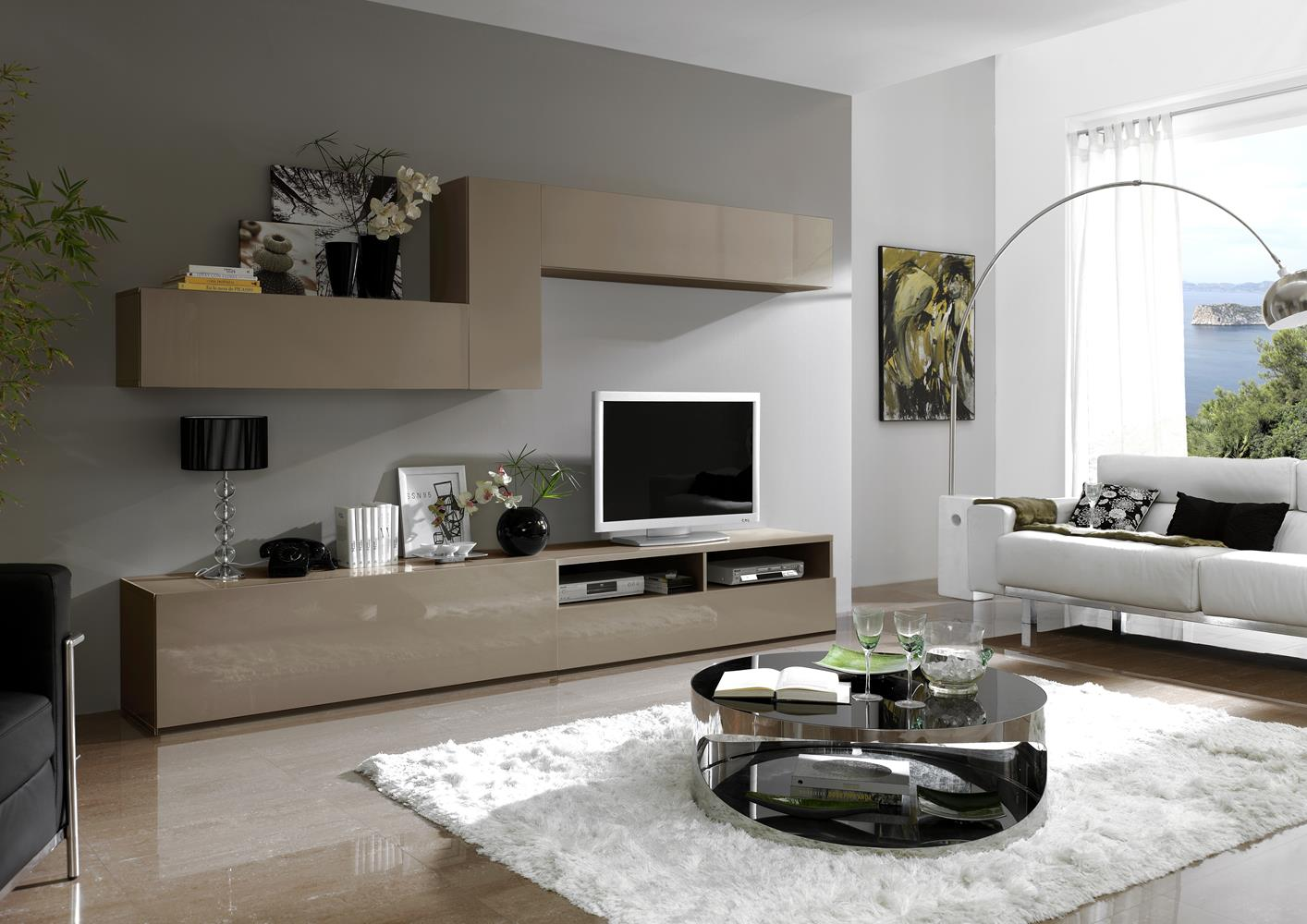 acheter votre composition murale contemporaine laqu e brun. Black Bedroom Furniture Sets. Home Design Ideas