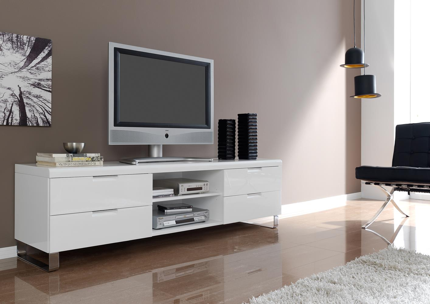 acheter votre meuble t l contemporain laqu blanc pied chrom chez simeuble. Black Bedroom Furniture Sets. Home Design Ideas