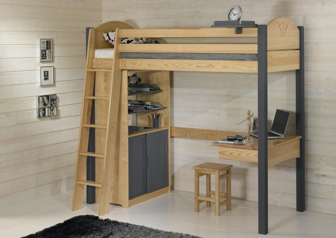 lit mezzanine 90x190. Black Bedroom Furniture Sets. Home Design Ideas
