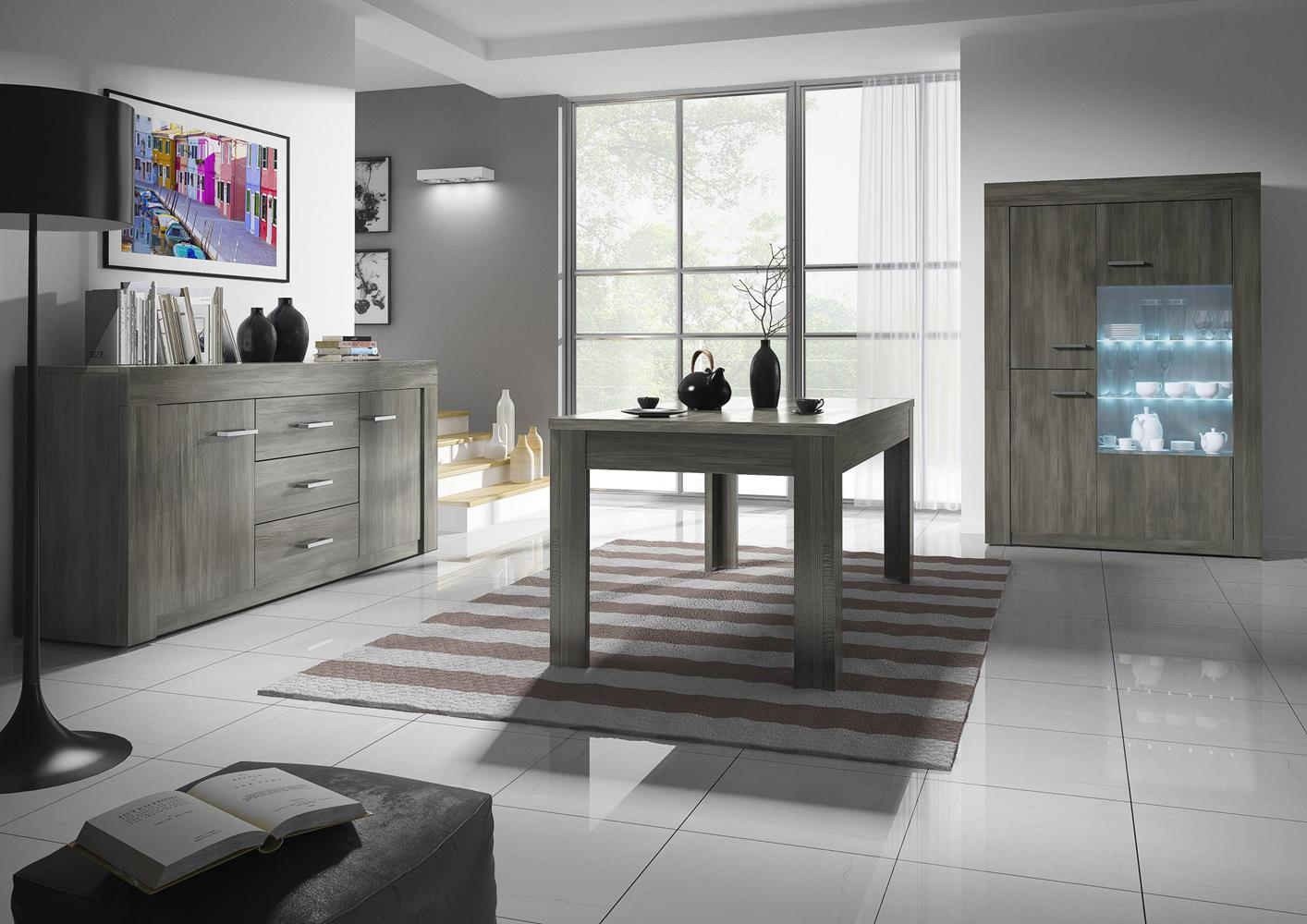 acheter votre vitrine avec led m lamin ch ne gris fonc chez simeuble. Black Bedroom Furniture Sets. Home Design Ideas