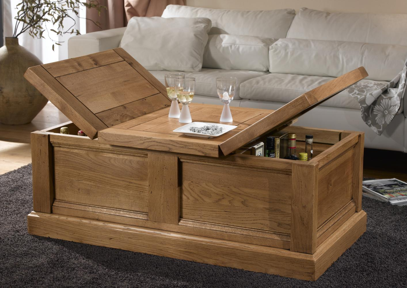 Table basse coffre bar - Table basse avec rangement bar ...
