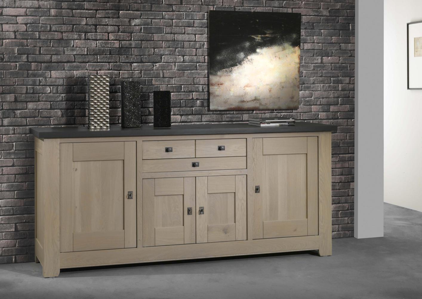acheter votre bahut bas en ch ne bicolor 4 portes 2 tiroirs chez simeuble. Black Bedroom Furniture Sets. Home Design Ideas