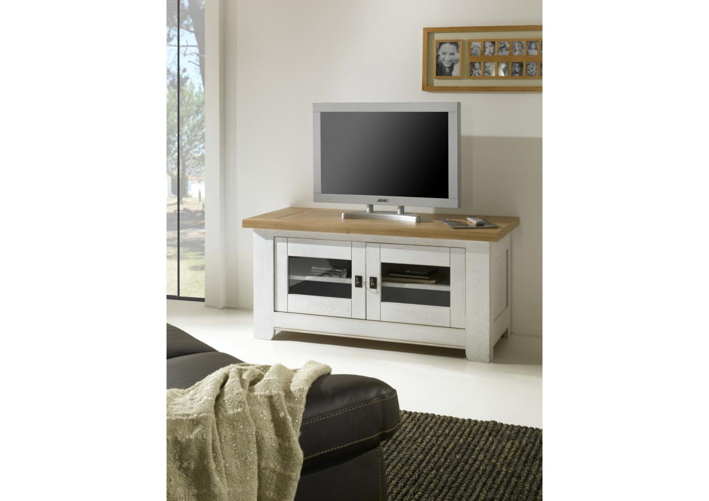 acheter votre meuble tv en ch ne bicolor blanc et vernis portes vitr e chez simeuble. Black Bedroom Furniture Sets. Home Design Ideas