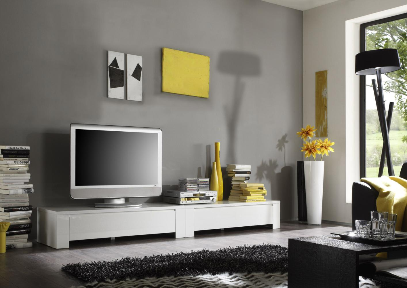 acheter votre meuble tv bas laqu blanc chez simeuble. Black Bedroom Furniture Sets. Home Design Ideas