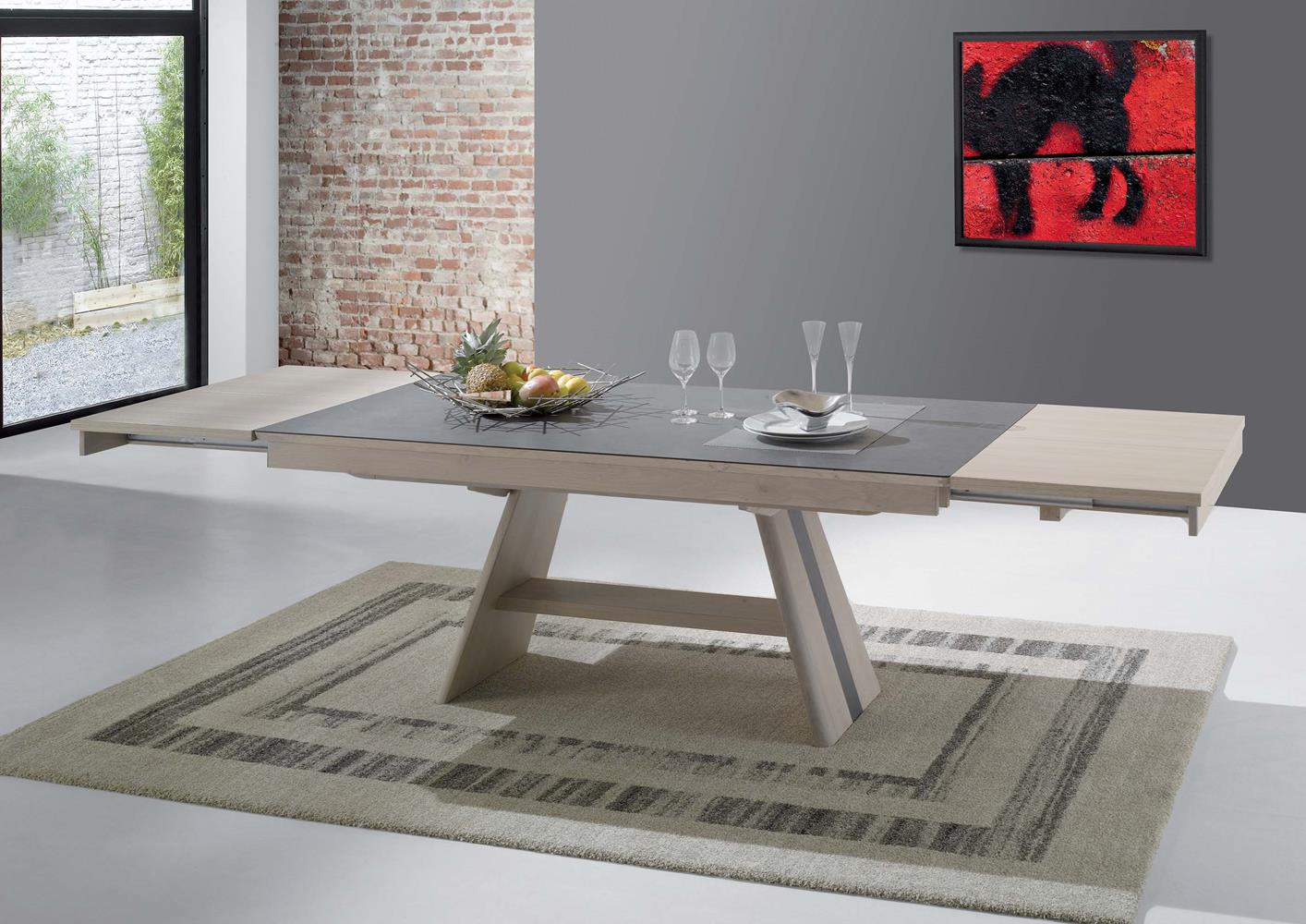Table salle a manger design pied central valdiz - Table design extensible pied central ...