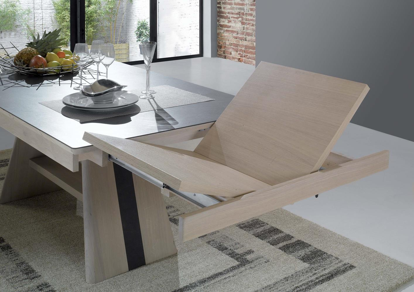 Salle manger table pied central - Table design extensible pied central ...