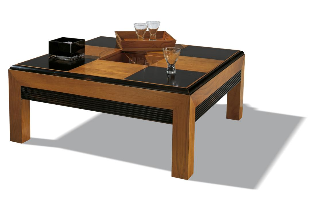 Acheter votre table basse contemporaine laqu e noir et for Table contemporaine