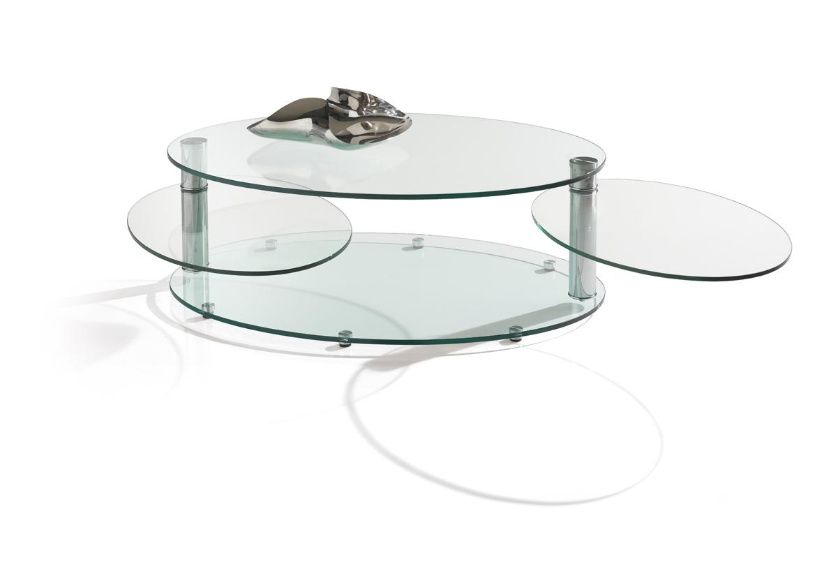 Table basse ovale en verre for Table basse babou