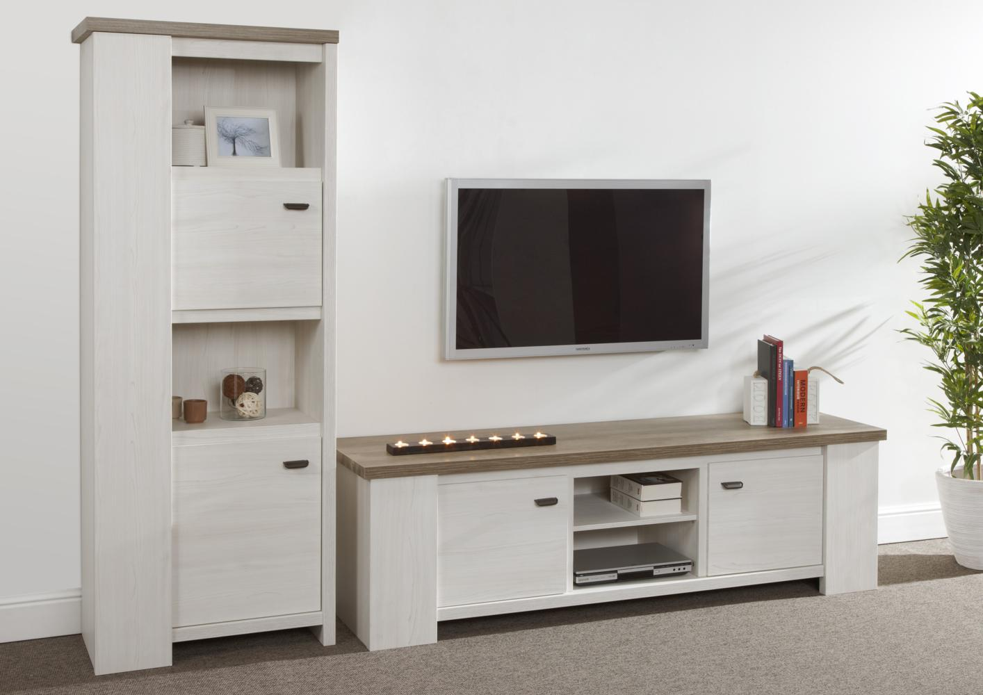 acheter votre meuble tv grand modele bicolor moderne chez simeuble. Black Bedroom Furniture Sets. Home Design Ideas