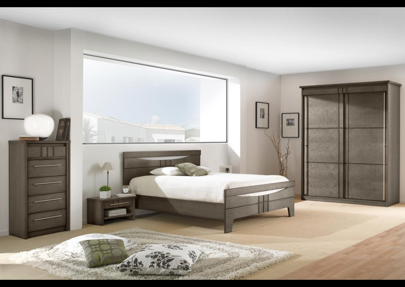 acheter votre lit contemporain placage merisier chez simeuble. Black Bedroom Furniture Sets. Home Design Ideas