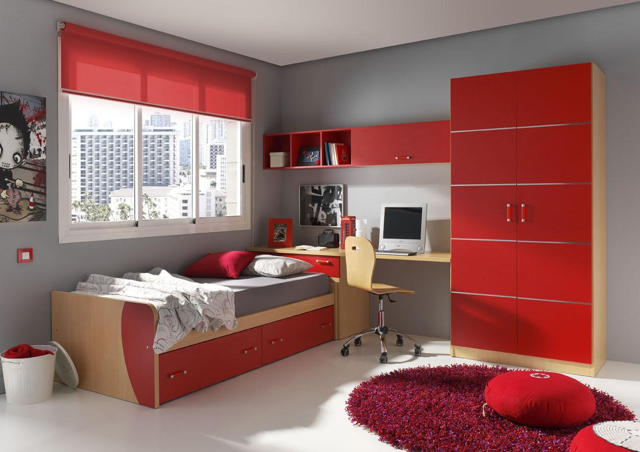 chambre ado fille rouge et gris. Black Bedroom Furniture Sets. Home Design Ideas