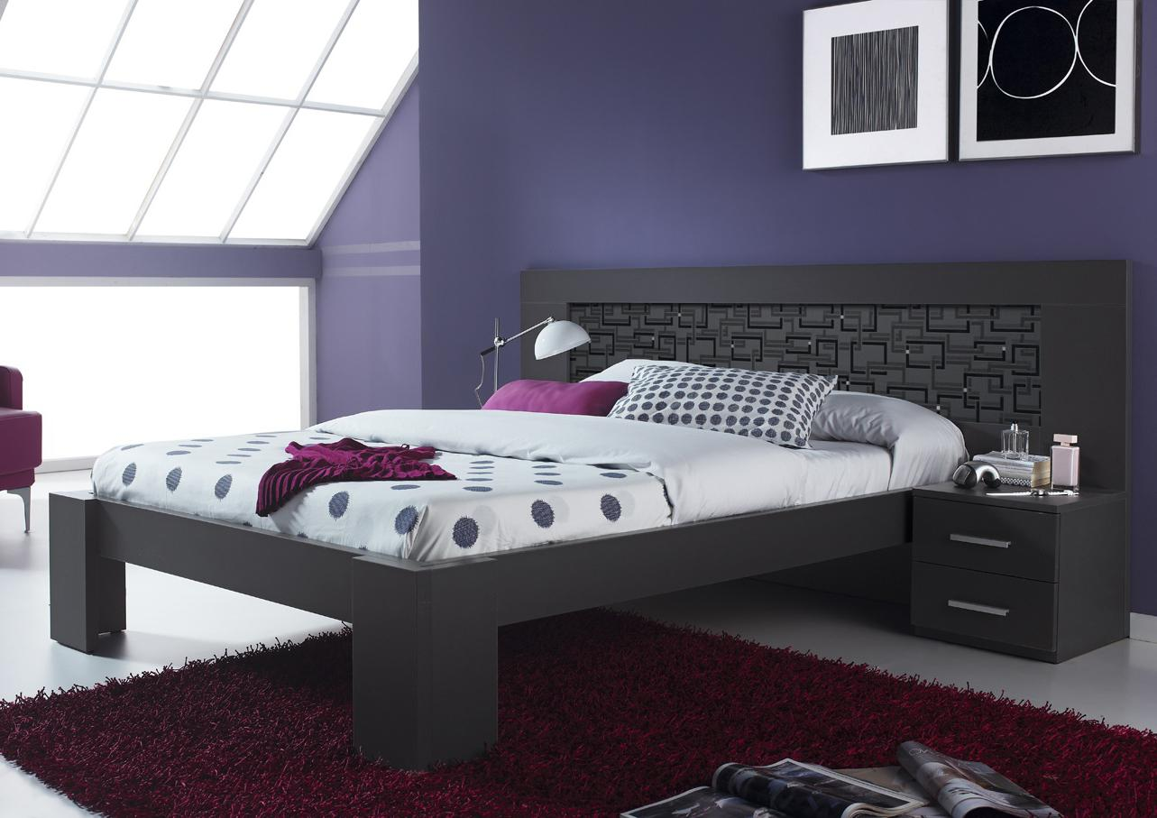 acheter votre lit 160 dosseret d co avec chevet chez simeuble. Black Bedroom Furniture Sets. Home Design Ideas