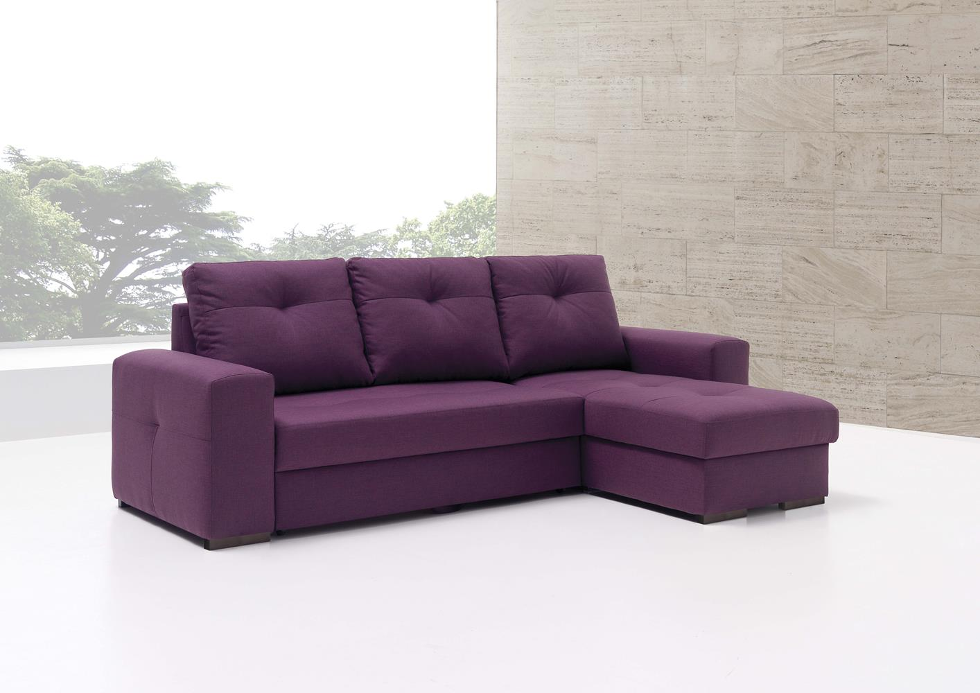 acheter votre canap lit chaise longue en tissu violet. Black Bedroom Furniture Sets. Home Design Ideas