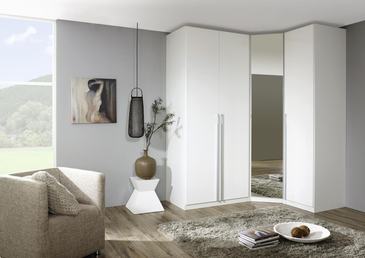 acheter votre dressing d 39 angle contemporain portes battantes blanches et miroir chez simeuble. Black Bedroom Furniture Sets. Home Design Ideas