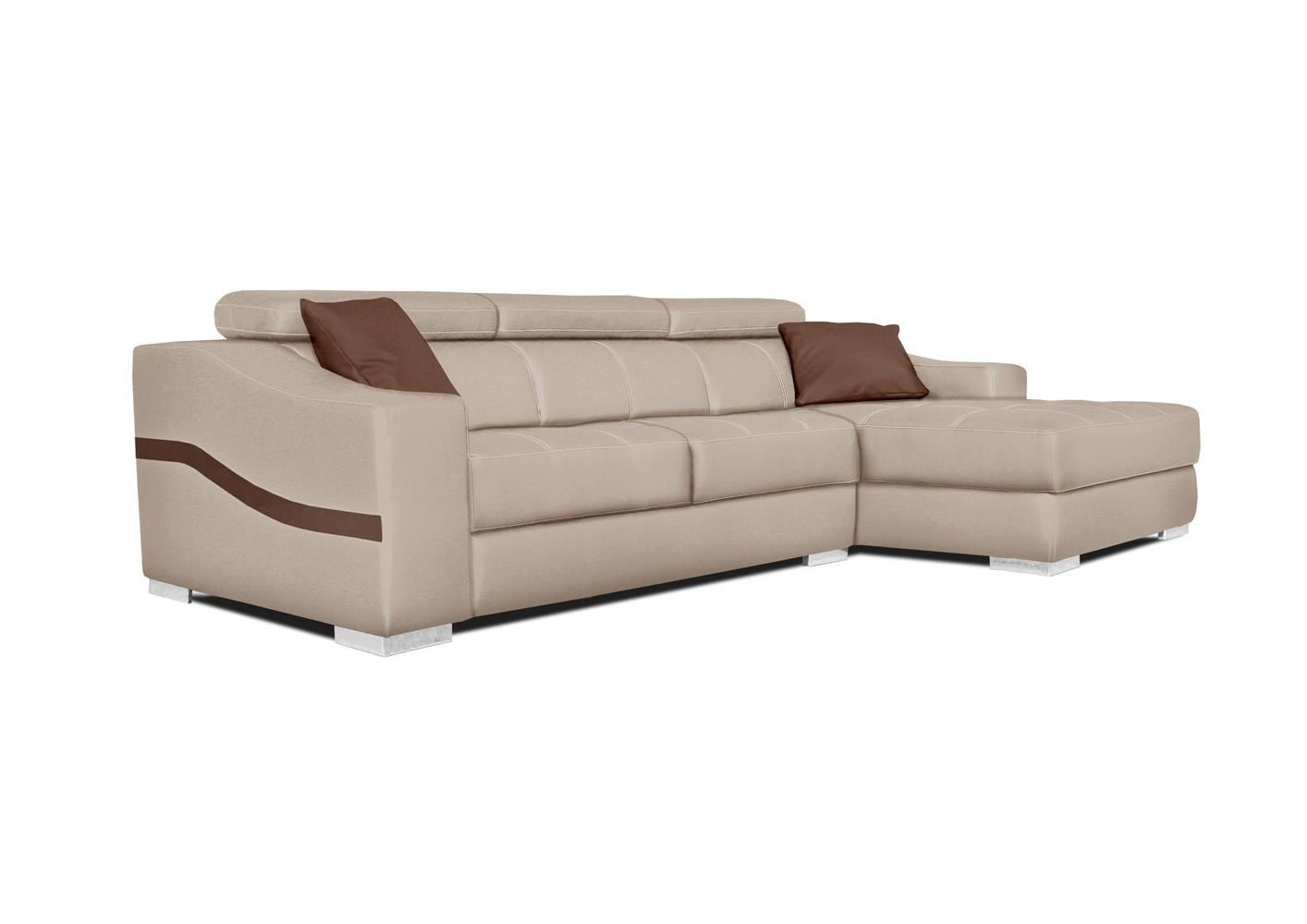 acheter votre canap chaise longue bicolor pvc beige et marron chez simeuble. Black Bedroom Furniture Sets. Home Design Ideas