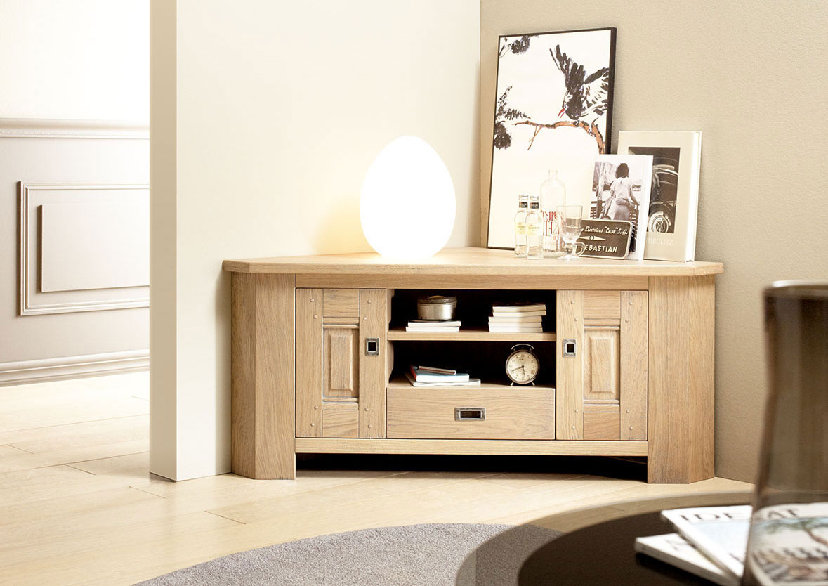 acheter votre meuble t l contemporain d 39 angle en ch ne. Black Bedroom Furniture Sets. Home Design Ideas