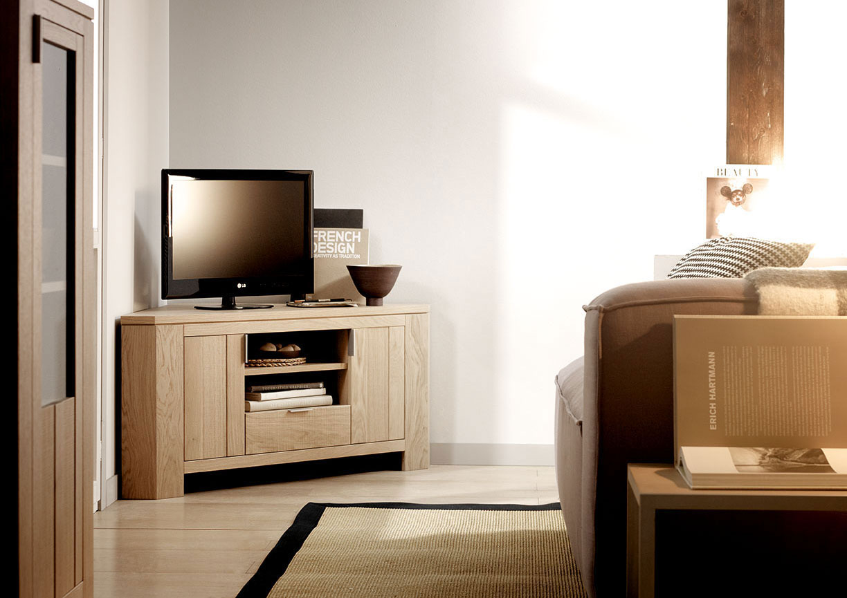 acheter votre meuble t l contemporain ch ne naturel niche. Black Bedroom Furniture Sets. Home Design Ideas