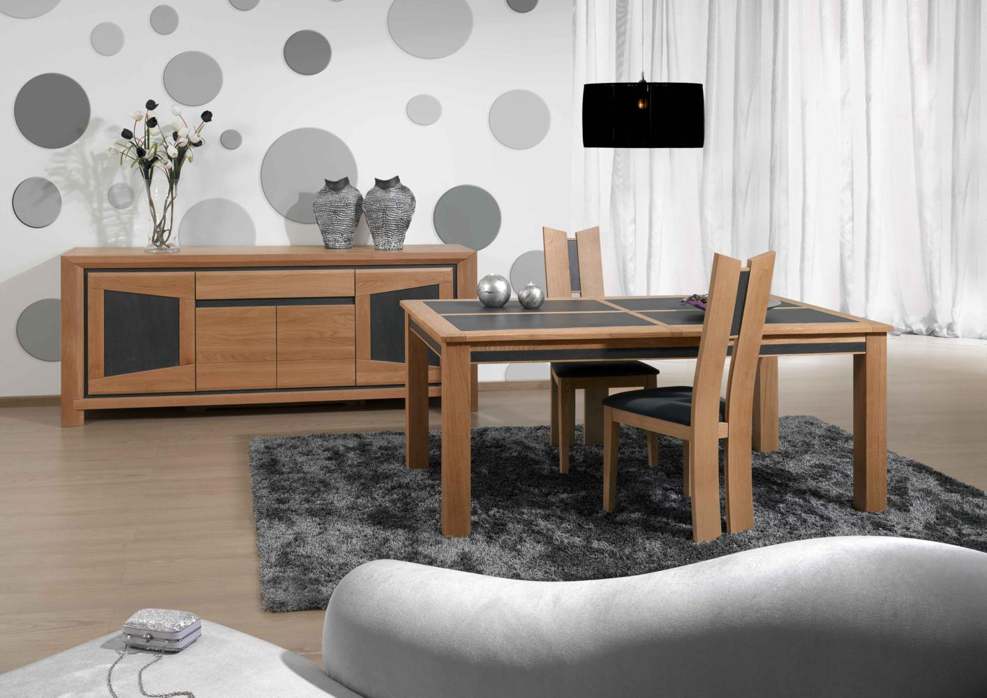 acheter votre table carree chene massif et ceramique 1 allonge chez simeuble. Black Bedroom Furniture Sets. Home Design Ideas