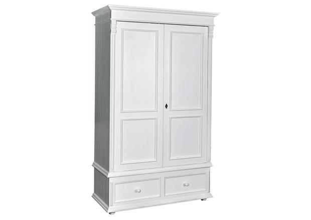 acheter votre armoire en pin massif blanc avec penderie. Black Bedroom Furniture Sets. Home Design Ideas